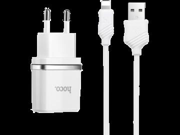 Сетевое зарядное устройство HOCO C12 (2USB/2.4A) с кабелем Lightning.